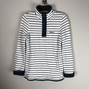 Fat Face Quarter Zip Pullover Sweatshirt Striped